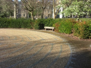 February sunshine on George Square labyrinth Edinburgh