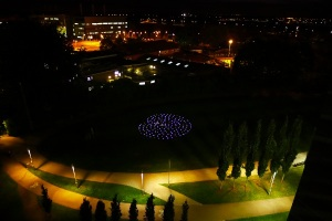 Addenbrooke's night scene with candlelit labyrinth. Photo: Jan Sellers