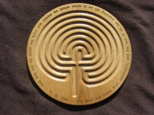 Rowan finger labyrinth with TS Eliot text