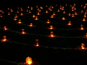 Candlelit labyrinth at nightfall